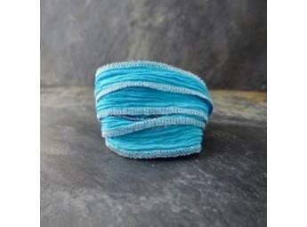Lien en soie Turquoise&Silver