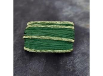 Lien en soie Green and Gold